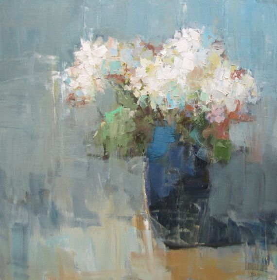"Barbara Flowers, ""Hydrangeas in Blue Vase""- 36x36, oil on canvas --at Principle Gallery"