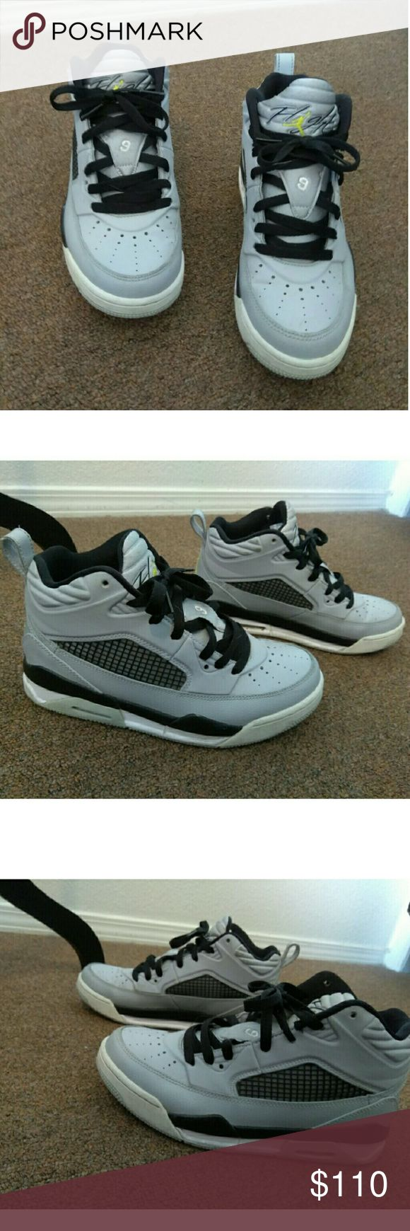 Gray Black White Nike Air Jordan Flight 9 Gray Black and white Nike Air Jordan Flight 9 . Has slight discoloration dirt on bottom and lower white area. Nothing too crazy as shown in pictures.  Size 5.5 Youth which is 7.5 in Women's. Jordan Shoes