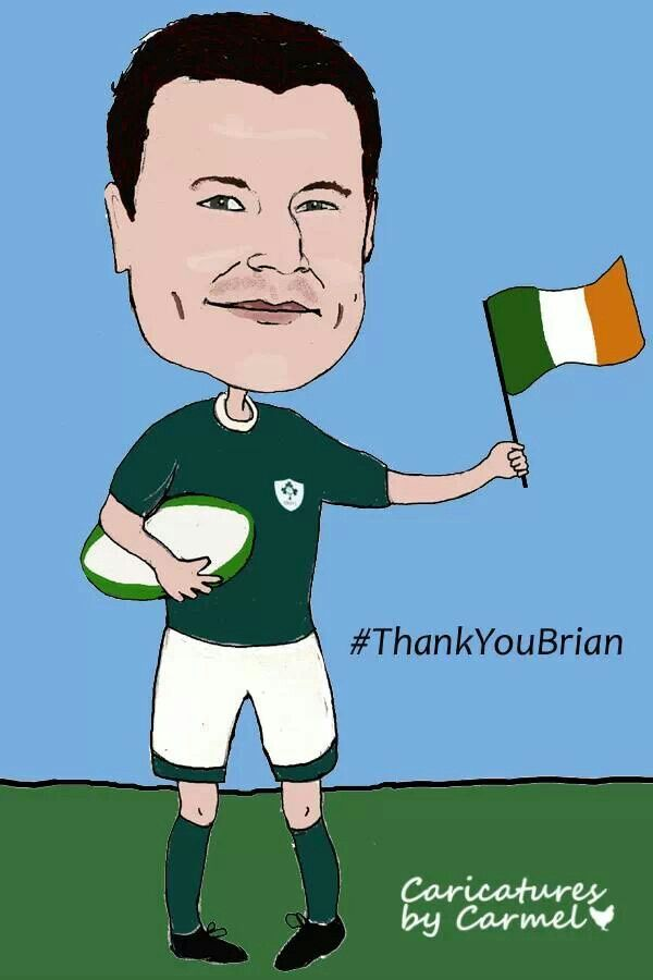 Brian ODriscol, Irish Rugby team wins six nations winner. #artbyCarmel #Ireland #sixnations #BOD  www.caricaturesByCarmel.com