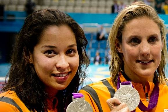 Swimmers Naromi Kromowidjojo and Marleen Veldhuis, Olympic Gold and Bronze, 50 m, Saturday 4th August 2012, London!