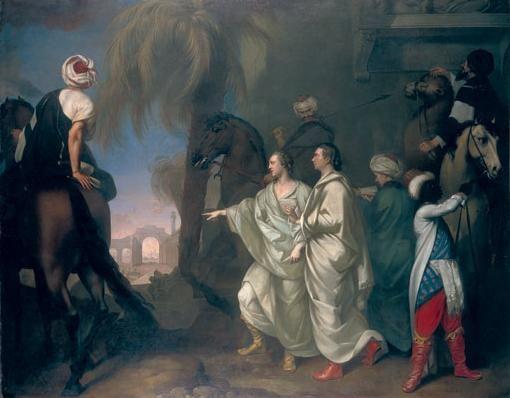 Les voyageurs et hommes politiques Robert Wood et James Dawkins découvrant les ruines de Palmyre (huile de Gavin Hamilton, 1757.