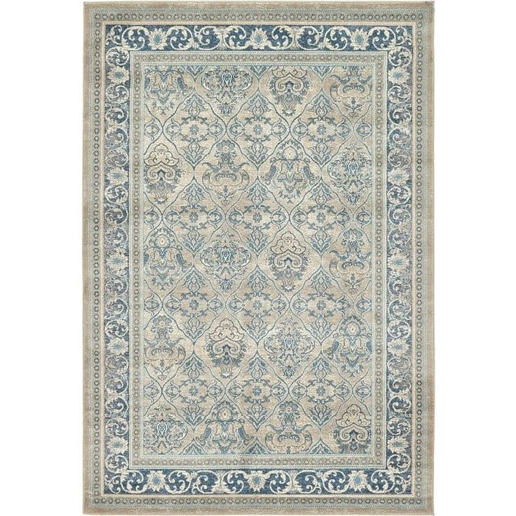 Unique Loom Traditional Vienna Cotton, Polypropylene Rug (6' x 9') (Gray), Blue, Size 6' x 9'