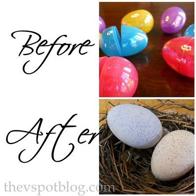 Recycle boring plastic eggs and make faux robin eggs for your spring or Easter decor.