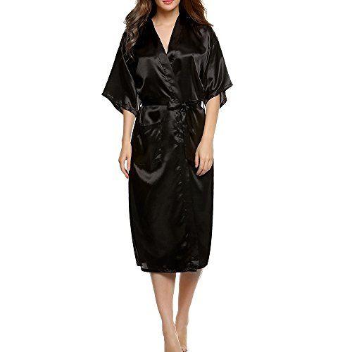 skyblue-uk Women Sexy Long Silk Kimono Dressing Gown Bath Robe Babydoll Lingerie Nightdress Descript:andlt