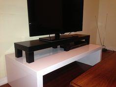 Lack TV riser Materials: 1 Lack shelf, 3 pair Besta wooden legs, glue.