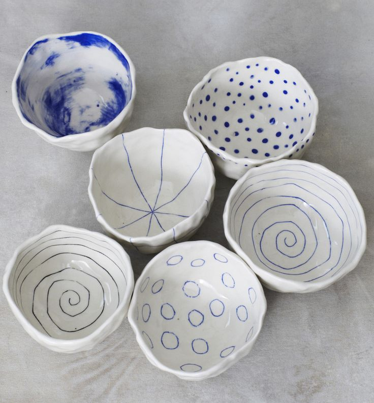 """Pinch bowl with hand painted sky design - Porcelain - Approx. 4""""x2.5"""" - Microwave and dishwasher safe - Hand washing is recommended - Made in New York For designer Brooke Winfrey, the aim with btw cer"""