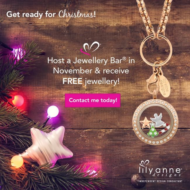 Get ready for Christmas! Host a Jewellery Bar in November & receive FREE jewellery! Your very own personalised locket, or a unique gift for a loved one this Christmas!  https://www.facebook.com/LADPetaKidd  http://www.LilyAnneDesigns.com.au/PetaKidd