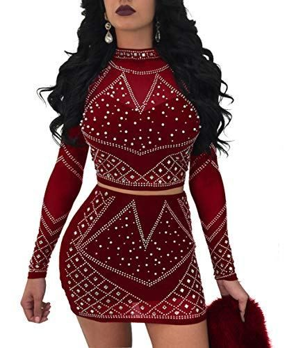 6be05952c183 Nhicdns Womens Sexy Two Pieces Bodycon Outfit Embellished Rhinestone Long  Sleeve Crop Top with Mini Dress Clubwear #dresses