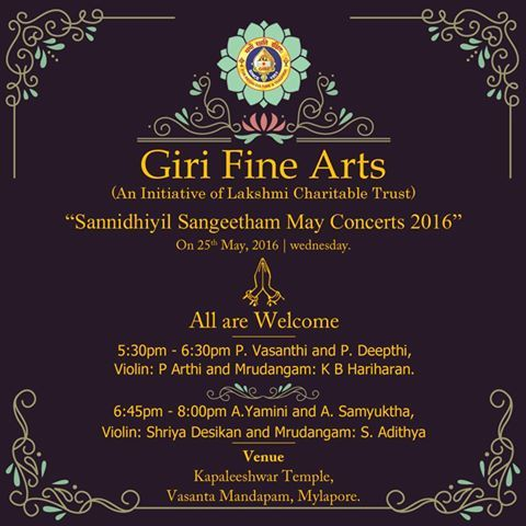 #GIRITradingAgency invites all to #SannidhiyilSangeetham May 2016 concert