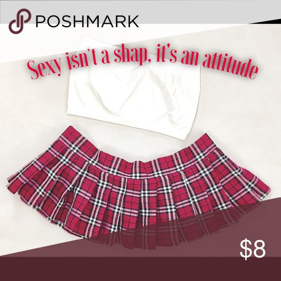 Reform School Girl Velcro Mini Skirt HotPink Small NWOT Role Play FUN with Sex Skirt $8 with Tube Top Size Small with tag $12 Rene Rofe Skirts Mini