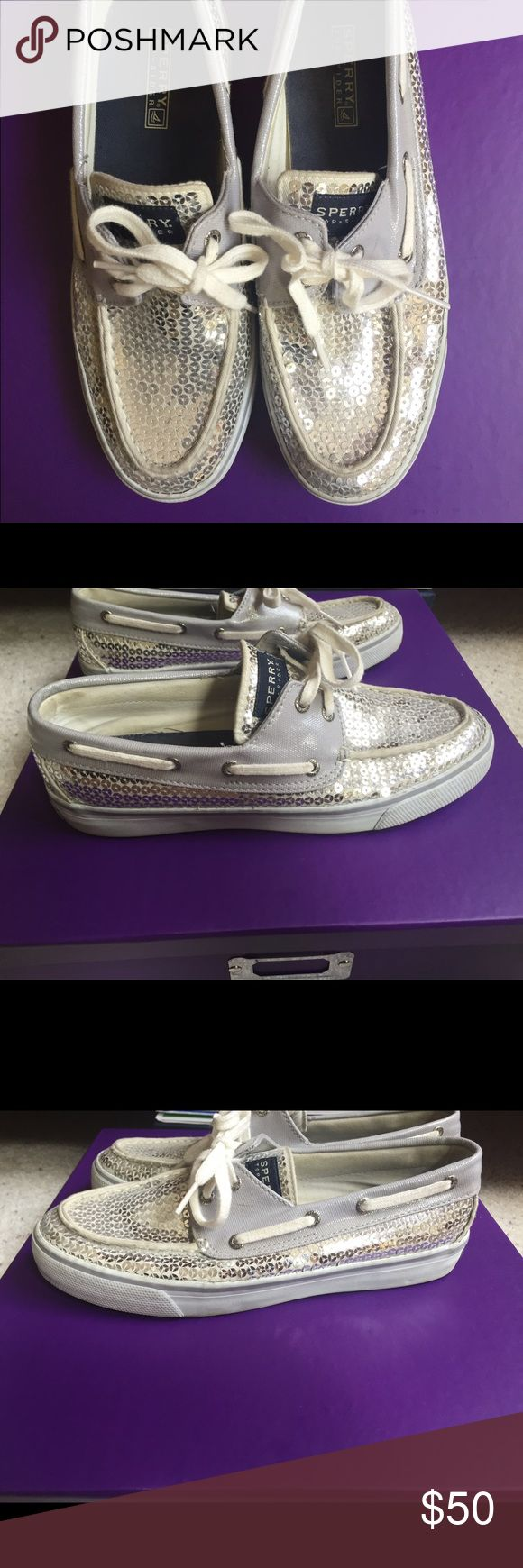 Sperry White Sperry's with silver sequins. Very clean. Like new! Sperry Shoes