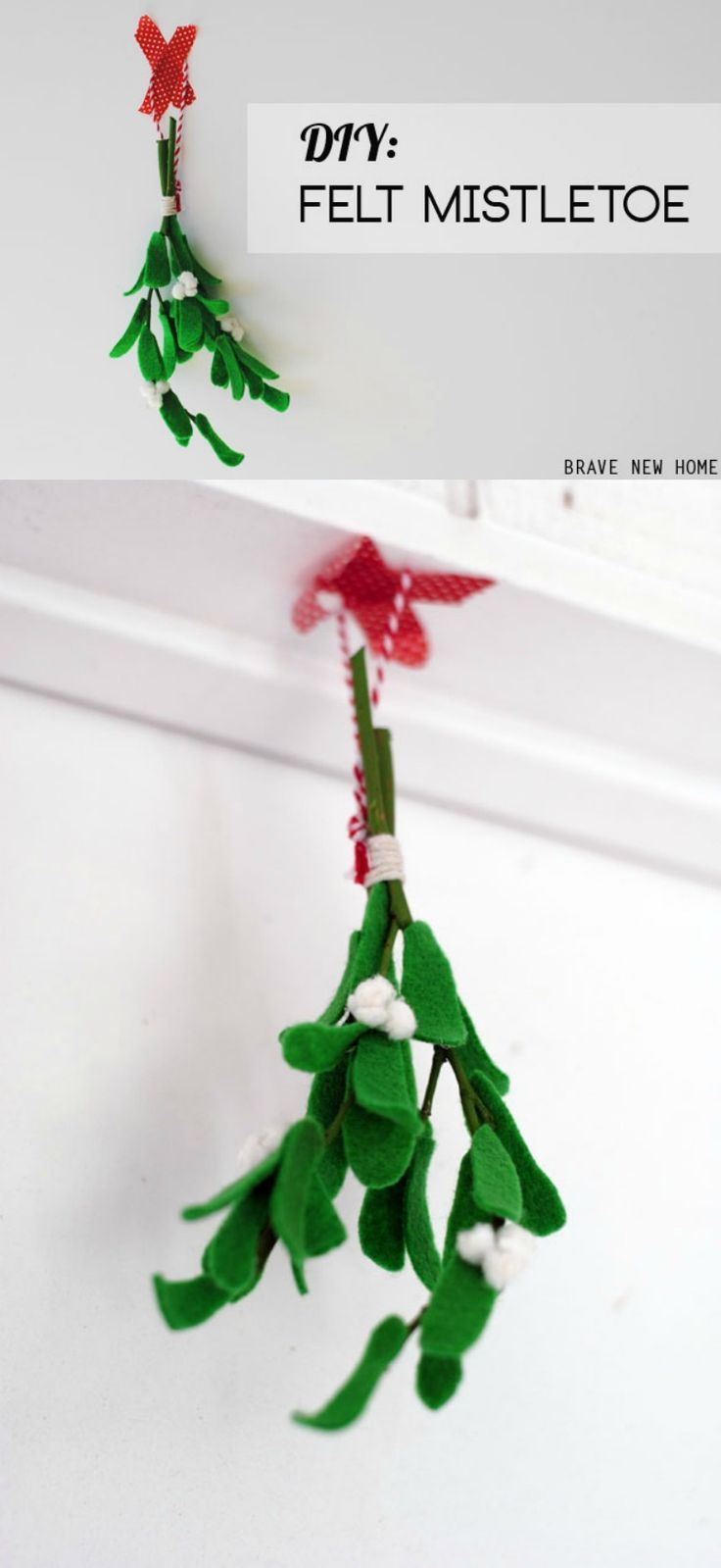 Learn how to create a holiday classic with this DIY felt mistletoe tutorial, courtesy of DIY Candy. Using twigs from your backyard, this faux mistletoe is easy and fun. Plus, it lasts for years!