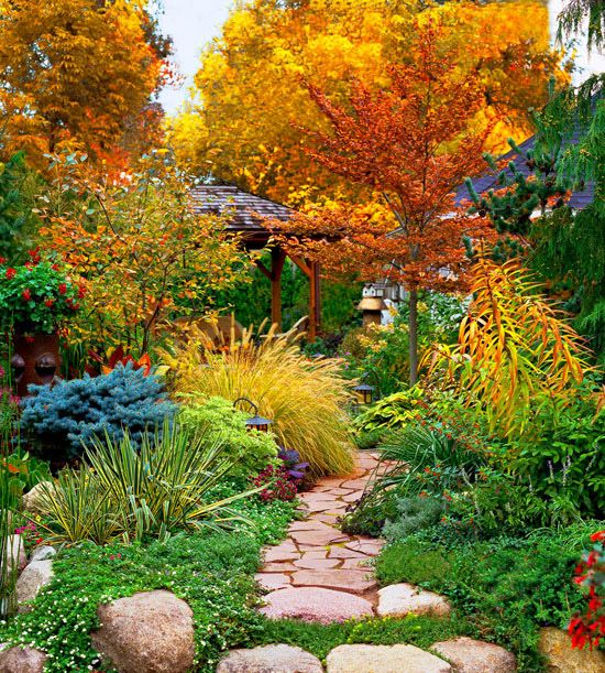 Create a fall garden retreat flagstone paths and cement for Cement garden paths