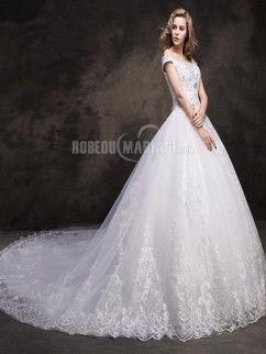 Traîne cathédrale robe de mariée romantique dentelle perles
