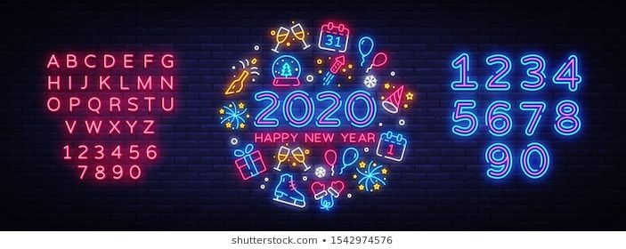 Stock Photo And Image Portfolio By Soifer Shutterstock In 2020 Happy New Year 2020 Neon Signs Icon Set Vector