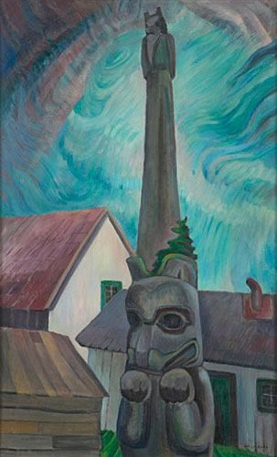 The Masset Pole, Queen Charlotte Islands, BC (Single Pole) (1940) - Emily Carr