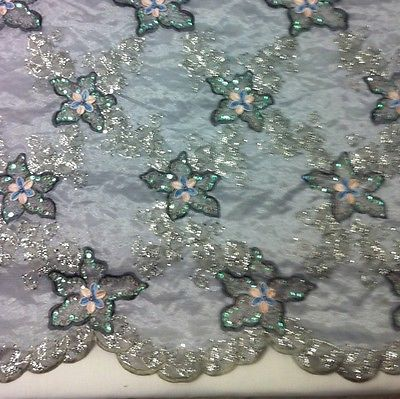 "SILVER ORGANZA W/SILVER EMBROIDERY BEAD SEQUINS FABRIC 50"" 2 YD"