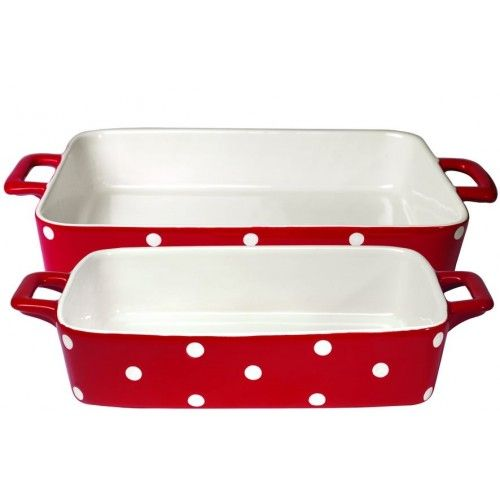 Süteményes kerámia edény szett - piros - fehér pöttyös - 2 db-os - TÁNYÉROK / TÁLAK / TORTA ÁLLVÁNYOK - Édes Álmok Webáruház