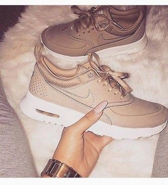 shoes nikes nike sneakers sneakers trainers nude camel beige brown white