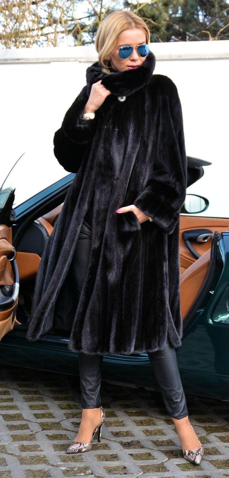 Long black mink coat