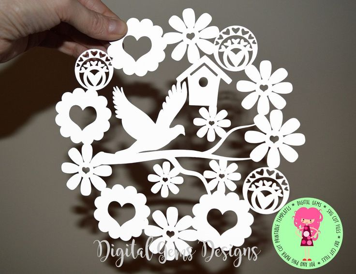 Dove And Flower Paper Cut Template, SVG / DXF Cutting File For Cricut / Silhouette & PDF Printable For Hand Cutting, Download by DigitalGems on Etsy