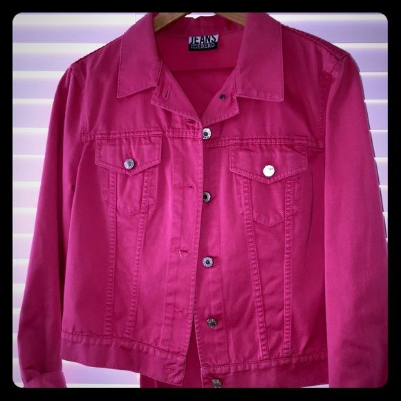 Iceberg jean jacket & jeans sz 31 Iceberg Jeans pink Jean jacket with beaded detail sz 44 with matching jeans sz 31 made in Italy - original authentic brand - worn twice in perfect condition as new Iceberg Jeans Jeans Straight Leg