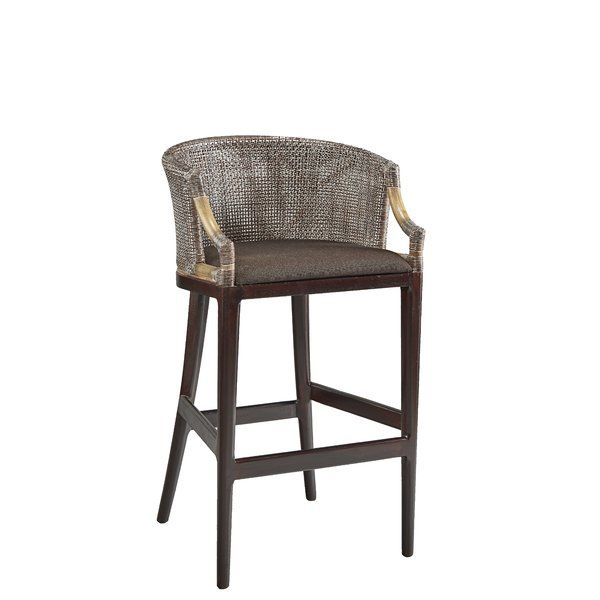 Climb On Up And Rest A While On This Stunning Bar Stool Which Blends Tones Of Espresso With Golden B Solid Wood Dining Chairs Mid Century Bar Stools Bar Stools