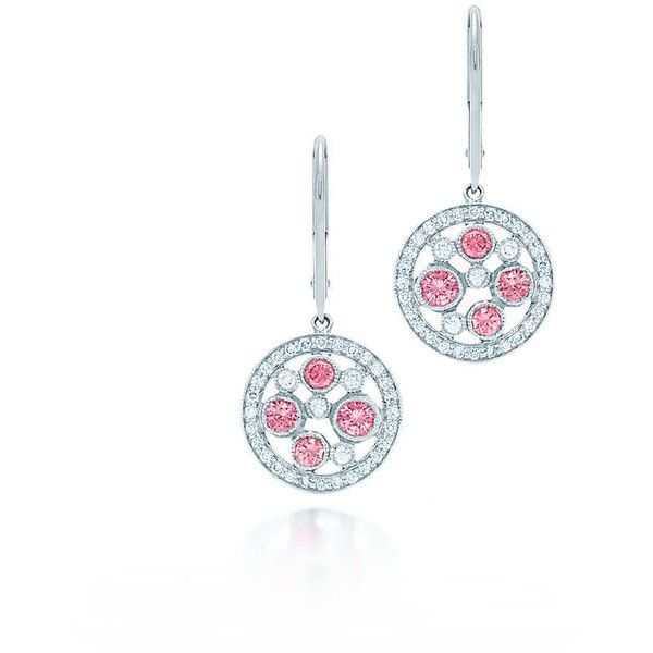 Tiffany Cobblestone Pink Sapphire Earrings (16.235 BRL) ❤ liked on Polyvore featuring jewelry, earrings, brincos, tiffany co jewellery, tiffany co jewelry, pink sapphire jewelry, round earrings and tiffany co earrings