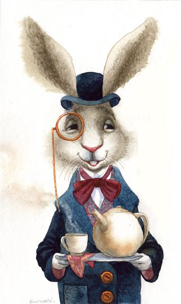 GONCHAROV .. cute illustration ... but the white rabbit was NOT at the tea party!  It was the March Hare ... he is brown ....