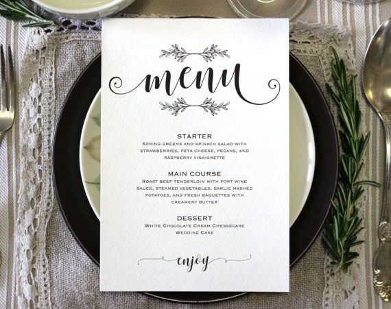 The  Best Wedding Menu Template Ideas On   Free