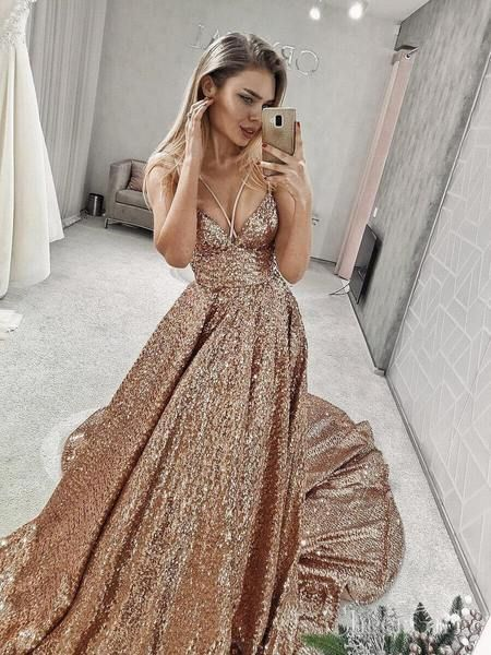 Sparkly Sequin V Neck Sequin Long Prom Dresses with Straps ARD2068-SheerGirl 9719efbf2038