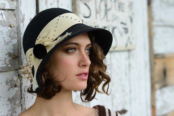 Handmade hat, black cloche in paglina straw. via Etsy.