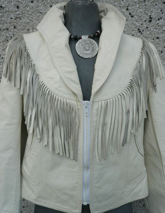 Vintage Women's Leather Jacket Ivory or White by Tasteliberty, $95.00