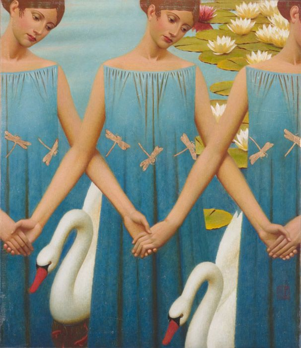 """""""Swan Lake""""                                              Andrey Remnev, 2008    Oil on canvas."""