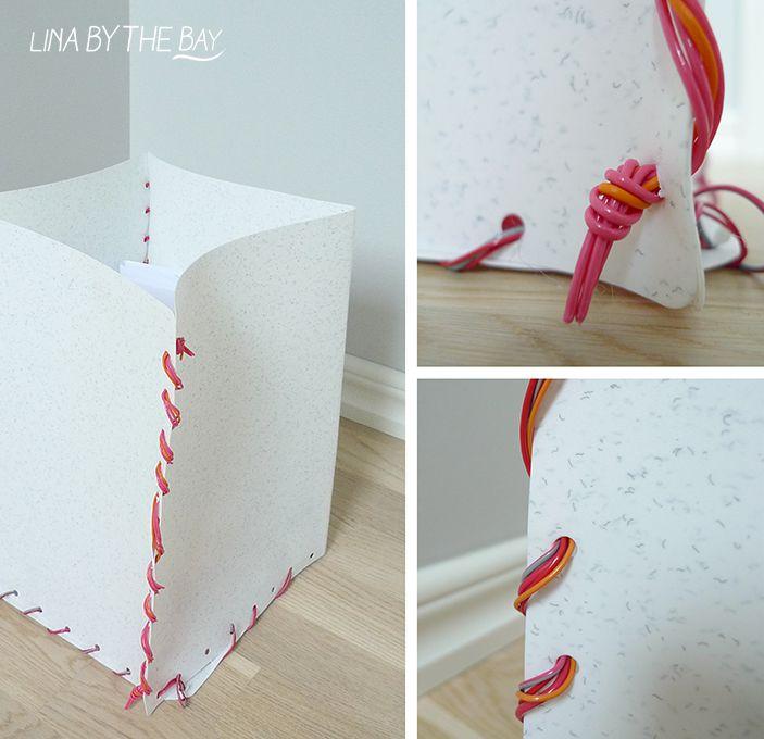 Papperskorg som jag gjorde av mappar och elkabel. Se mer från min kurs i Textilt återbruk i Eskilstuna