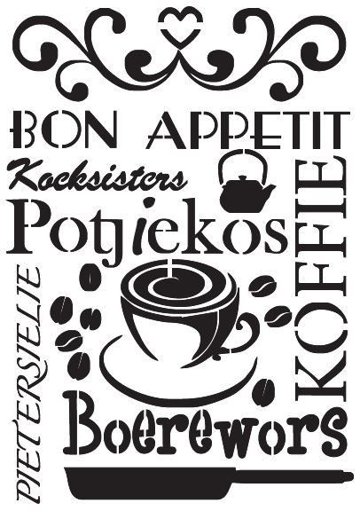 Bon appetite in Afrikaans A Stencil