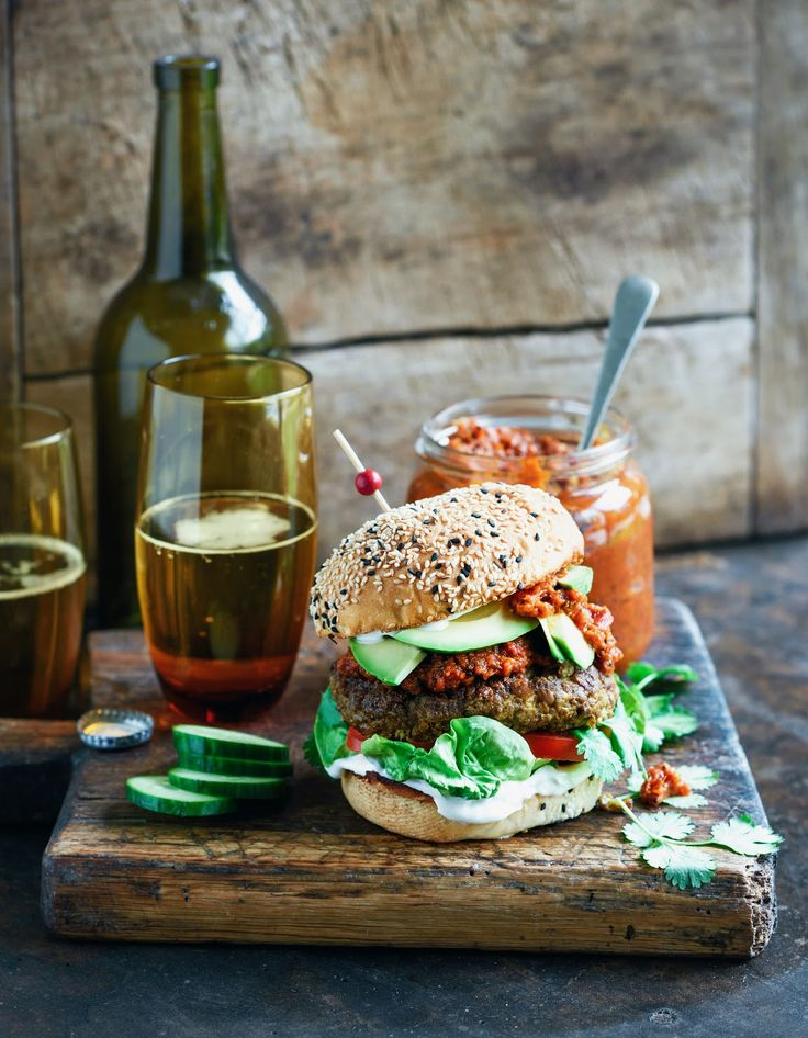 Indian spiced lamb & lentil burgers with rich tomato relish