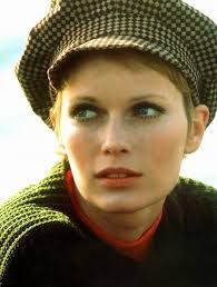 """classic 1960's (chunky sweater(s) w/ newsboy-style cap and pixie hairstyle)... lots of mascara with """"stained lip"""" (Mia Farrow)"""