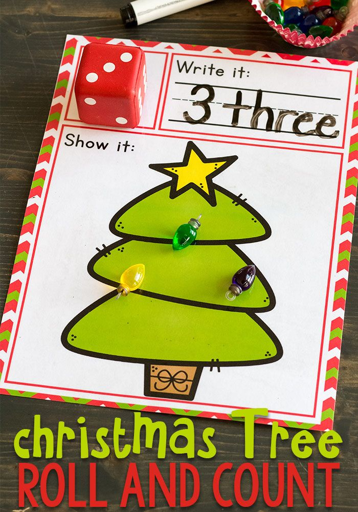 We love Christmas! This simple free printable Christmas Tree roll and count math game for kindergarteners is perfect for Christmas! Kids love rolling the dice, writing the numbers and counting the Christmas lights. via @lifeovercs