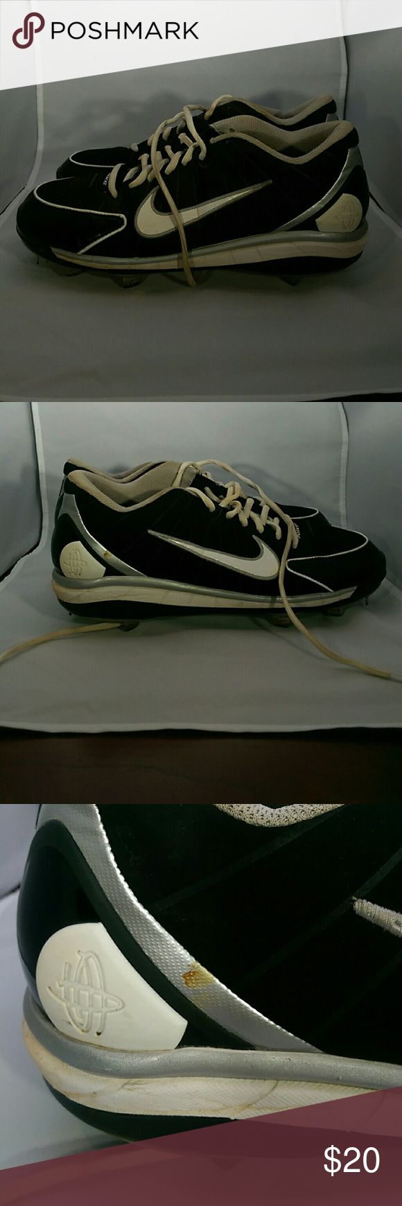 Nike Huarache Metal Cleats Black Size 10.5 Light weight cleats. 469729-011. These are dirty but I do not know how to clean them - I cannot put them in the washer as the studs are metal. One mark on side. We pictures for details. Nike Shoes Sneakers