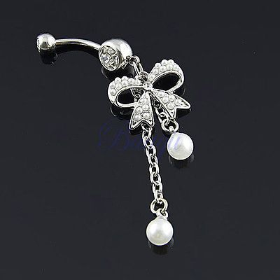 Unique Belly Ring Pearl Bow with 2 Tassel Pearl Dangle Navel Belly Ring 30days | eBay