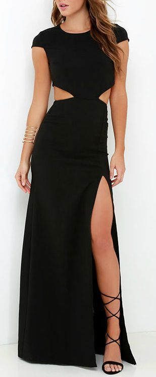This sleek and stretchy maxi dress starts off with a rounded neckline and short sleeves, while darting adds a tailored finish to the fitted bodice. A row of buttons top the curvy open back that transitions into side cutouts, and a figure-flaunting maxi skirt with thigh-high slit. #lovelulus