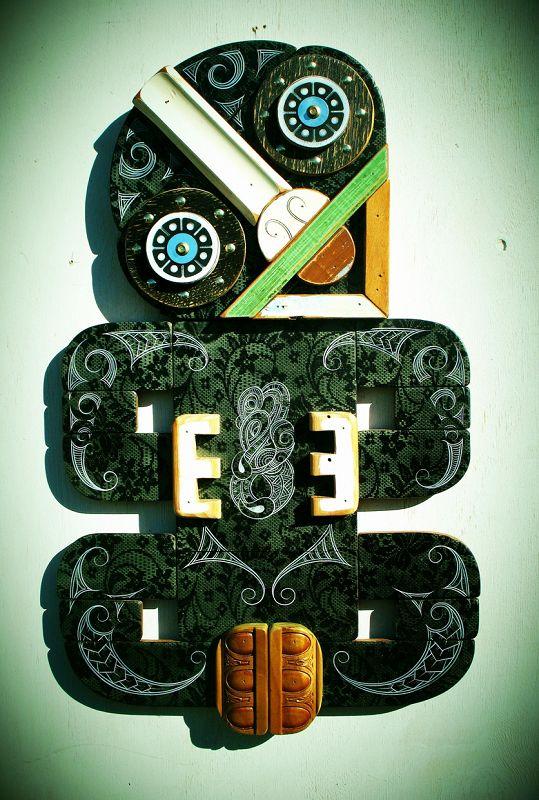 'Tiki 33', mixed media by Tony Harrington