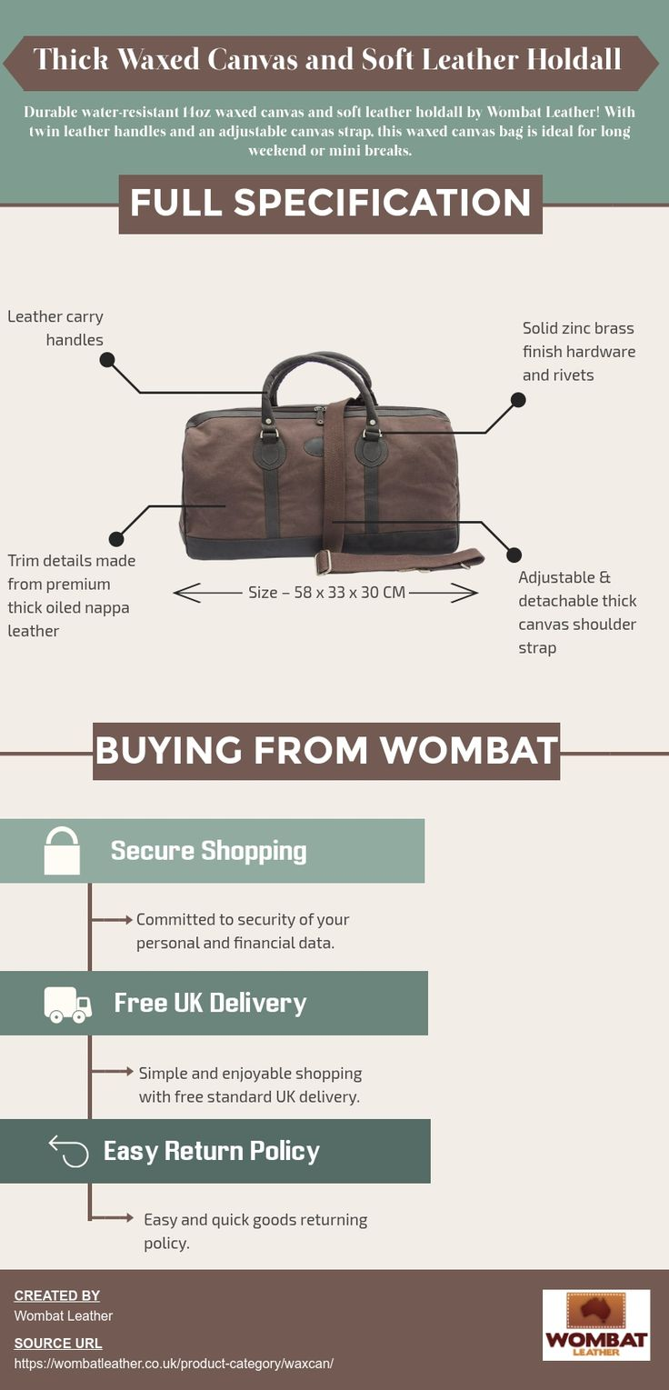Wombat Leather is the best store online for buying waxed canvas leather holdall bag at affordable prices in the United Kingdom. They provide holdall bags with twin leather handles and adjustable canvas strap. Visit their website now!