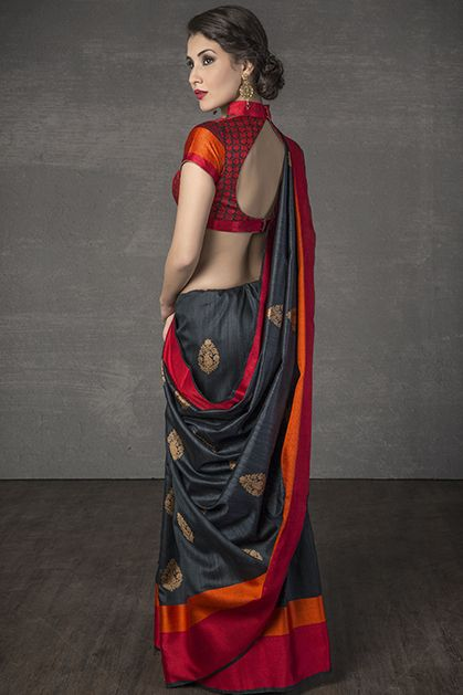 W14-116 | Handloom saree weaved in tussar silk