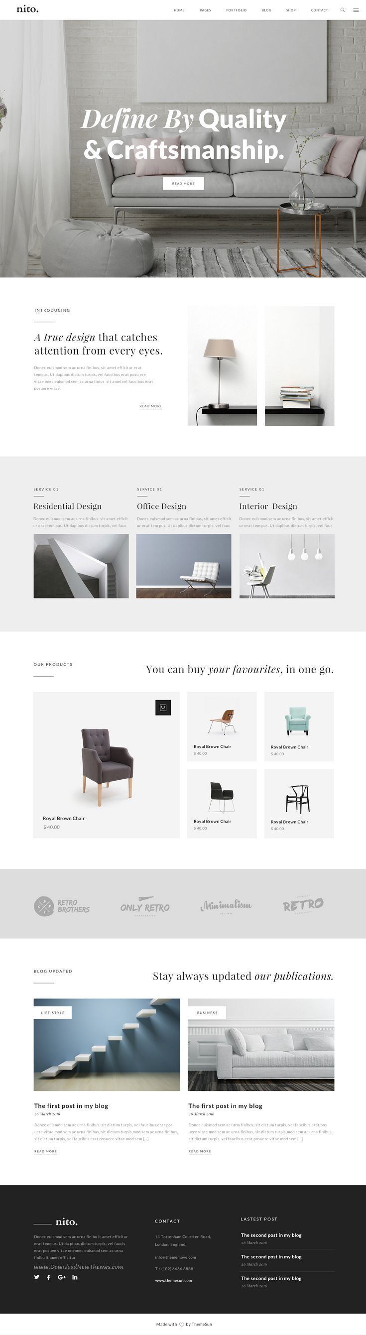 Nito is a clean & minimal 8 in 1 premium #PSD #template for multipurpose website. #webmaster Download Now!