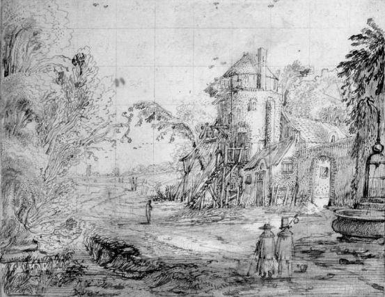 Ян ван де Вельде II: Пейзаж с фигурами на дороге Перо и коричневая тушь и кисти и коричневый мыть на средних кремом весом заложены бумаги; квадрат для передачи в графитный карандаш, квадраты области неба нумеруются последовательно 14,6 х 18,73 см
