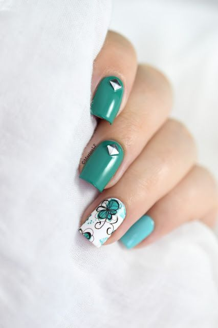 Marine Loves Polish: Floral skittlette - floral water decals - nail art