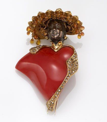 A coral, sapphire and diamond blackamoor brooch, Nardi, Italy