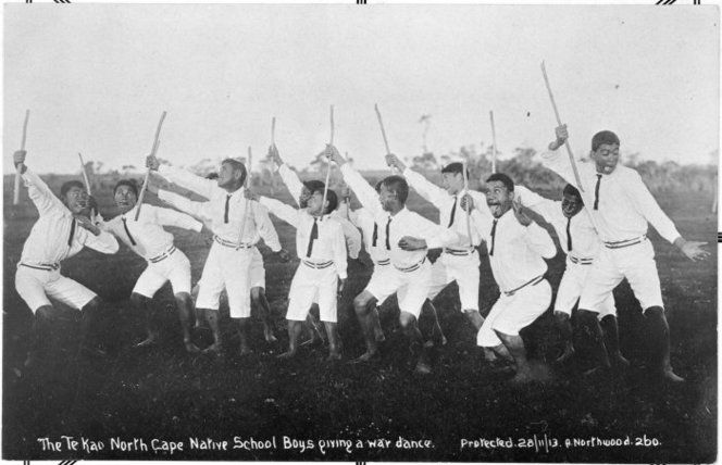 Boys from Te Kao Native School, Northland, performing a haka